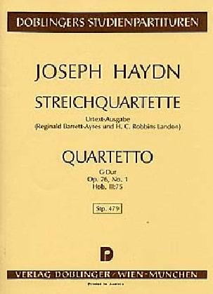 Joseph Haydn - Streichquartett G-Dur Op. 76 n° 1 Hob. 3 : 75 – Partitur - Partition - di-arezzo.fr