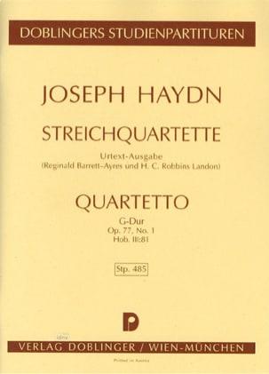 HAYDN - Streichquartett G-Dur op. 77 n ° 1 Hob. 3: 81- Partitur - Sheet Music - di-arezzo.com