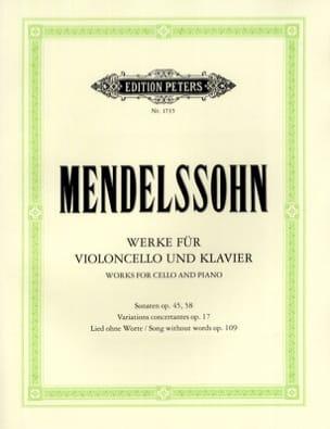 Oeuvres pour violoncelle et piano MENDELSSOHN Partition laflutedepan