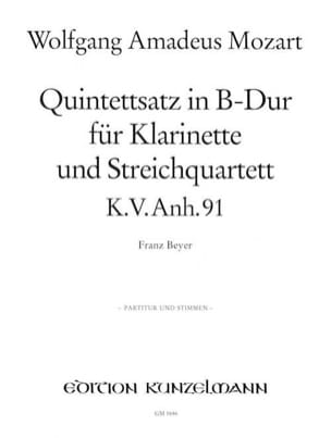 MOZART - Quintettsatz B-Dur Kv Anh. 91 - Partitur + Stimmen - Partition - di-arezzo.fr