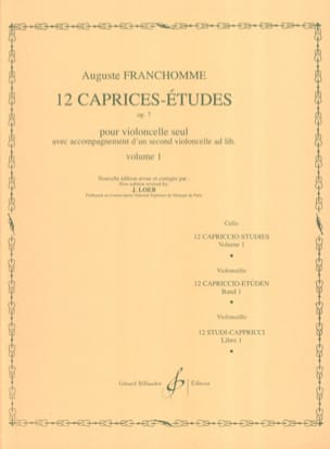 Auguste Franchomme - 12 Caprices-Etudes Opus 7 Volume 1 Studies 1 to 6 - Sheet Music - di-arezzo.co.uk