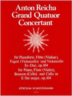 Anton Reicha - Grand quatuor concertant Es-Dur op. 104 -Pianoforte Flöte Fagott Violoncello - Partition - di-arezzo.fr
