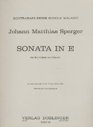 Johann Matthias Sperger - Sonata E-Dur - Kontrabass - Partition - di-arezzo.co.uk