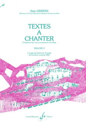 Alain Grimoin - Texts to Sing Volume 3 - Partition - di-arezzo.co.uk