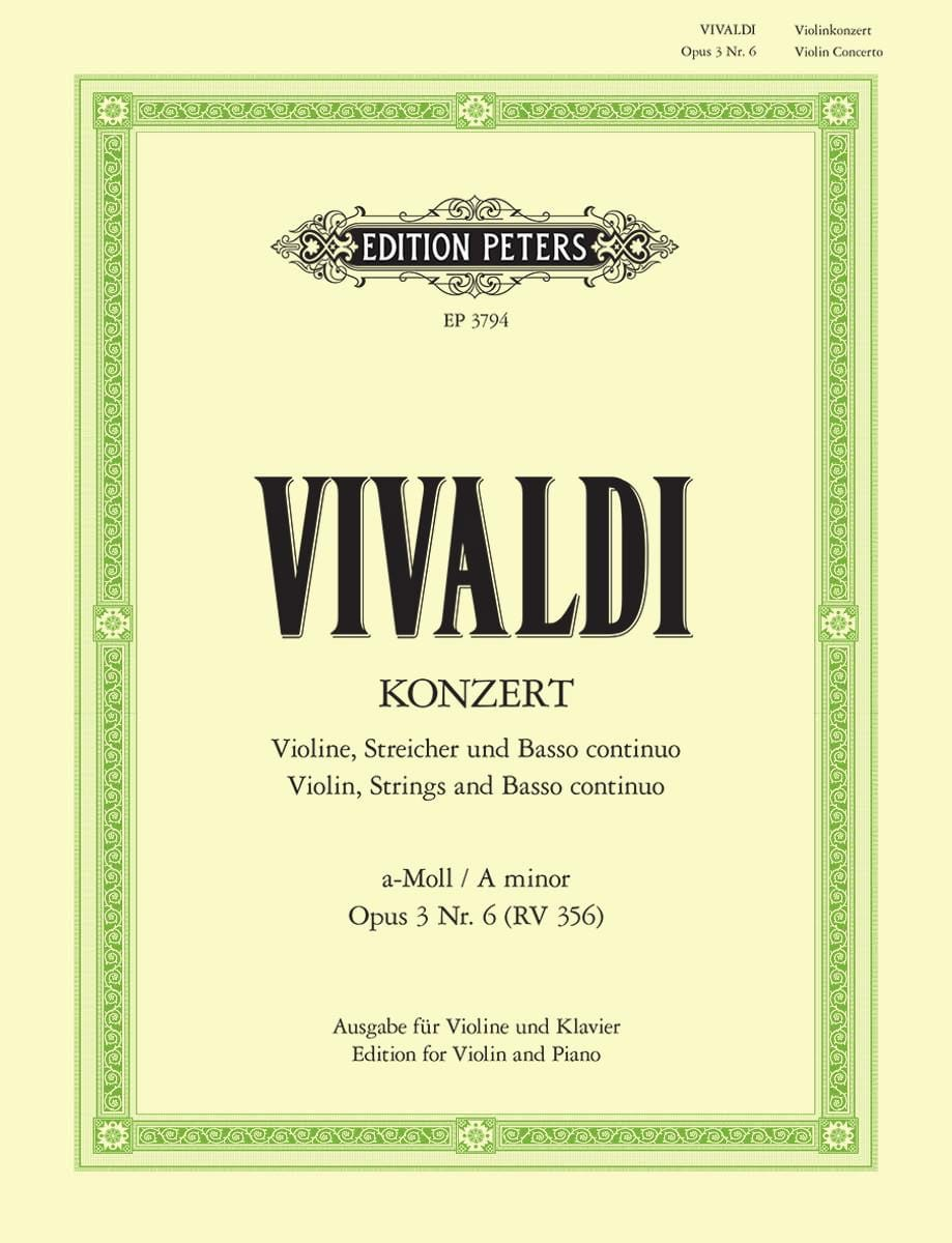 VIVALDI - Violin Concerto a minor op. 3 n ° 6 RV 356 - Partition - di-arezzo.co.uk