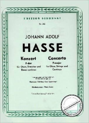 Konzert F-Dur - Oboe Klavier - Johann Adolf Hasse - laflutedepan.com