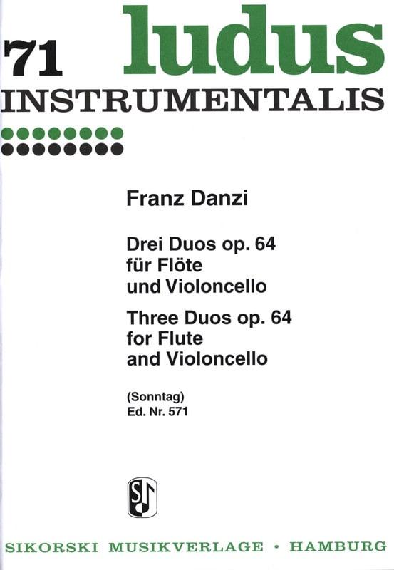 Franz Danzi - 3 Duos op. 64 - Flute and Violoncello - Partition - di-arezzo.co.uk