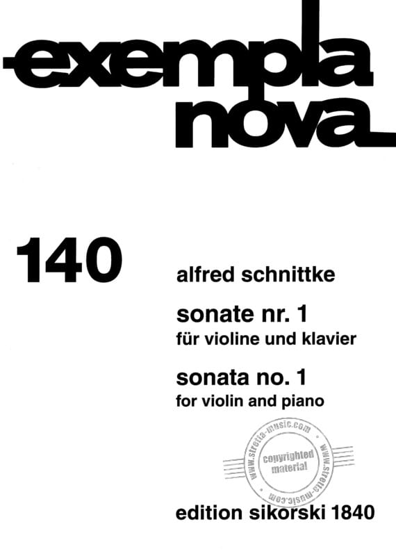 Sonata n° 1 - Alfred Schnittke - Partition - Violon - laflutedepan.com