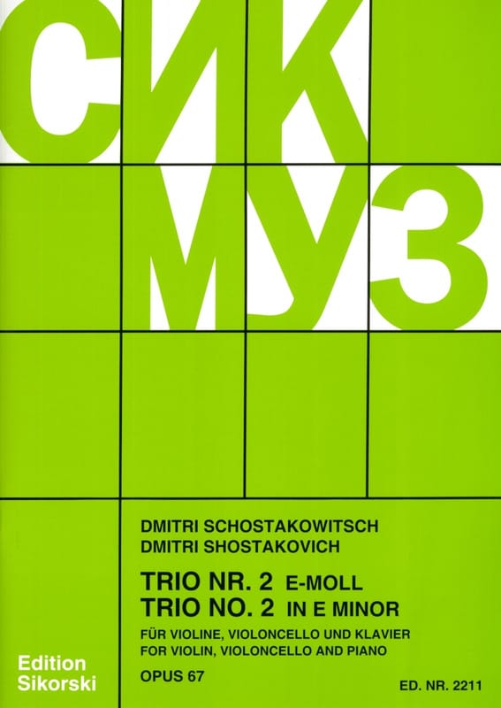 CHOSTAKOVITCH - Trio Nr. 2 e-moll op. 67 - Violine Violoncello Klavier - Stimmen - Partition - di-arezzo.co.uk