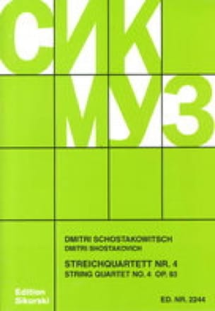 CHOSTAKOVITCH - Streichquartett Nr. 4 op. 83 - Stimmen - Partition - di-arezzo.co.uk