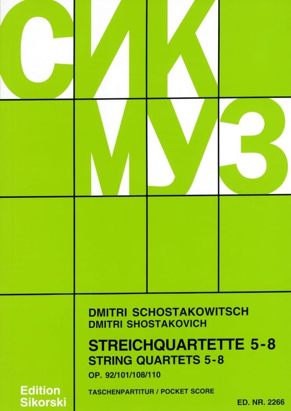 CHOSTAKOVITCH - Streichquartette Nr. 5-8 - Partition - di-arezzo.es