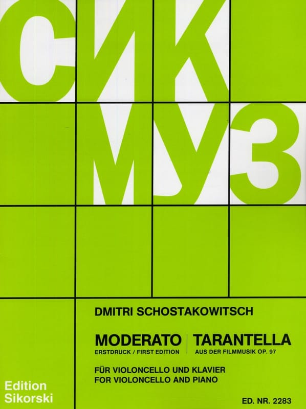CHOSTAKOVITCH - Moderato / Tarantella op. 97 - Partition - di-arezzo.co.uk