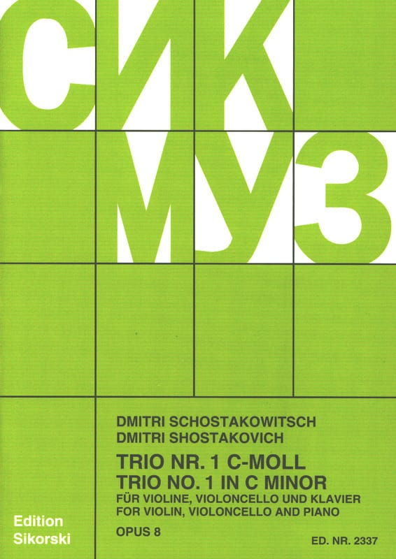 CHOSTAKOVITCH - Trio Nr. 1 op. 8 - Stimmen - Partition - di-arezzo.co.uk