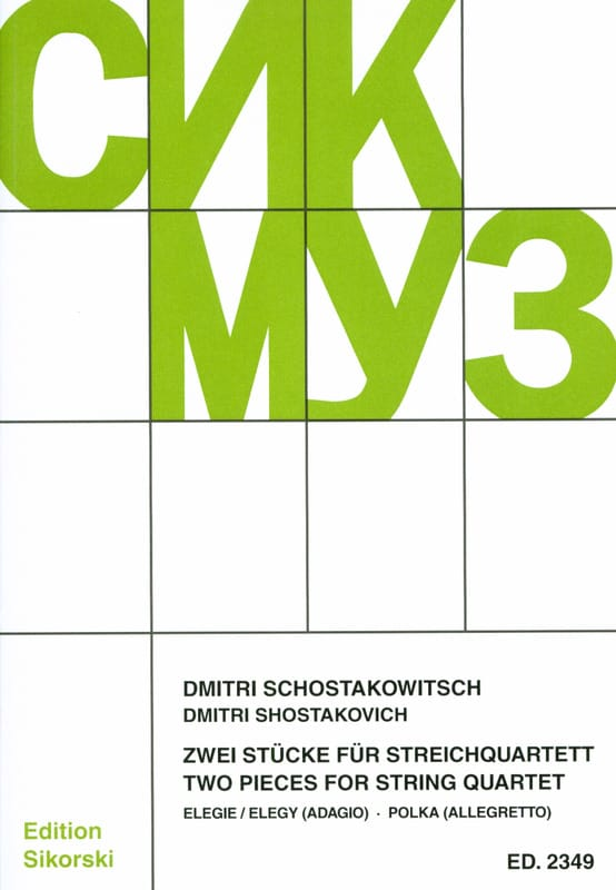CHOSTAKOVITCH - 2 Stücke für Streichquartett -Partitur + Stimmen - Partition - di-arezzo.fr