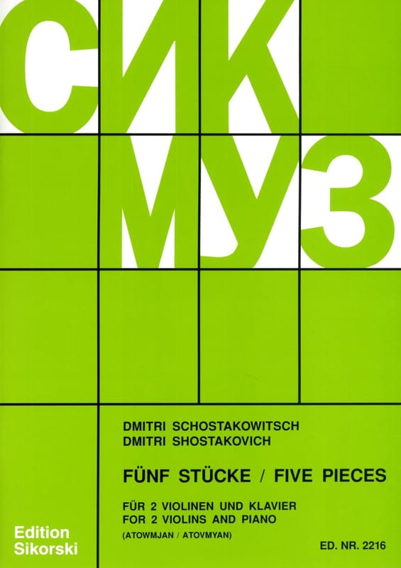 CHOSTAKOVITCH - 5 Pieces - 2 Violins and Piano - Partition - di-arezzo.co.uk