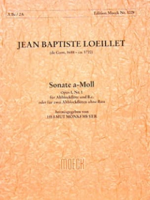 de Gant Jean Baptiste Loeillet - Sonata A-Moll The Min. - Alto and Bc Alto Recorder - Partition - di-arezzo.co.uk