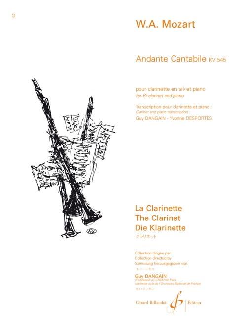 MOZART - Andante Cantabile KV 545 - Clarinet - Partition - di-arezzo.co.uk