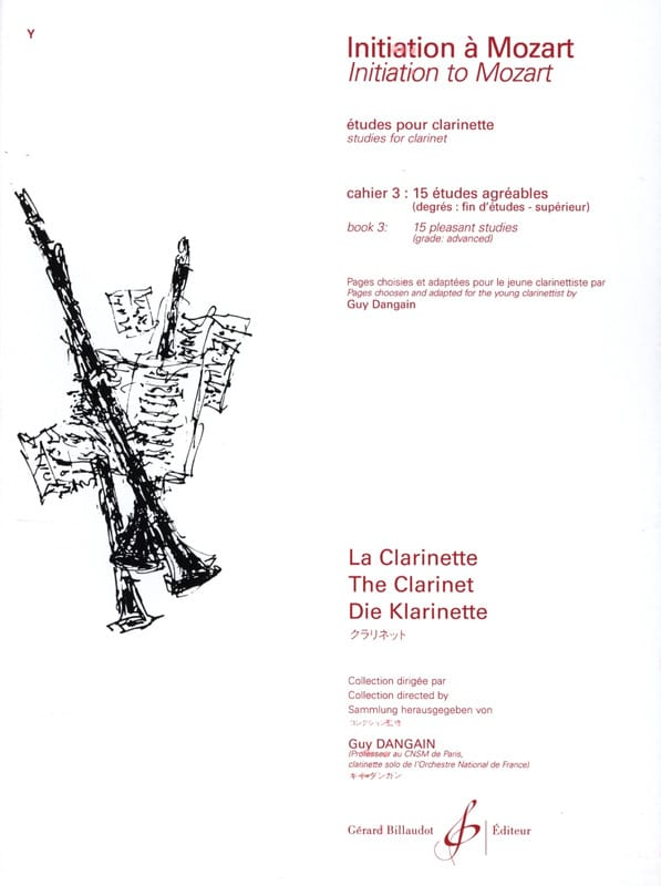 Mozart Wolfgang Amadeus / Dangain Guy - Initiation to Mozart - Cahier 3 - Clarinet - Partition - di-arezzo.co.uk
