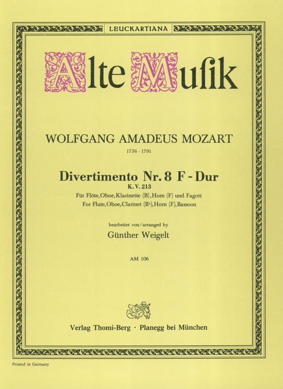 MOZART - Divertimento No. 8 F-Dur KV 213 - Bläserquintett - Stimmen - Partition - di-arezzo.co.uk