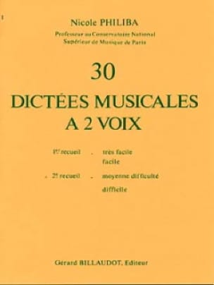Nicole Philiba - 30 Musical dictates with 2 voices - Volume 2 - Partition - di-arezzo.co.uk
