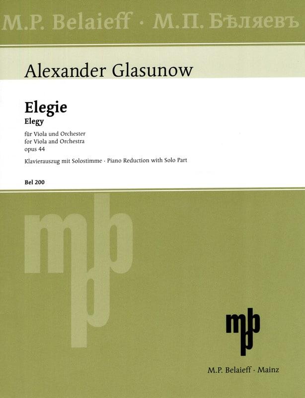 Elégie op. 44 - Alexandre Glazounov - Partition - laflutedepan.com