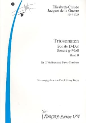 de la Guerre Elizabeth C Jacquet - Triosonaten Band 2 Sonata D-Dur und Sonata G-Moll - Partition - di-arezzo.com