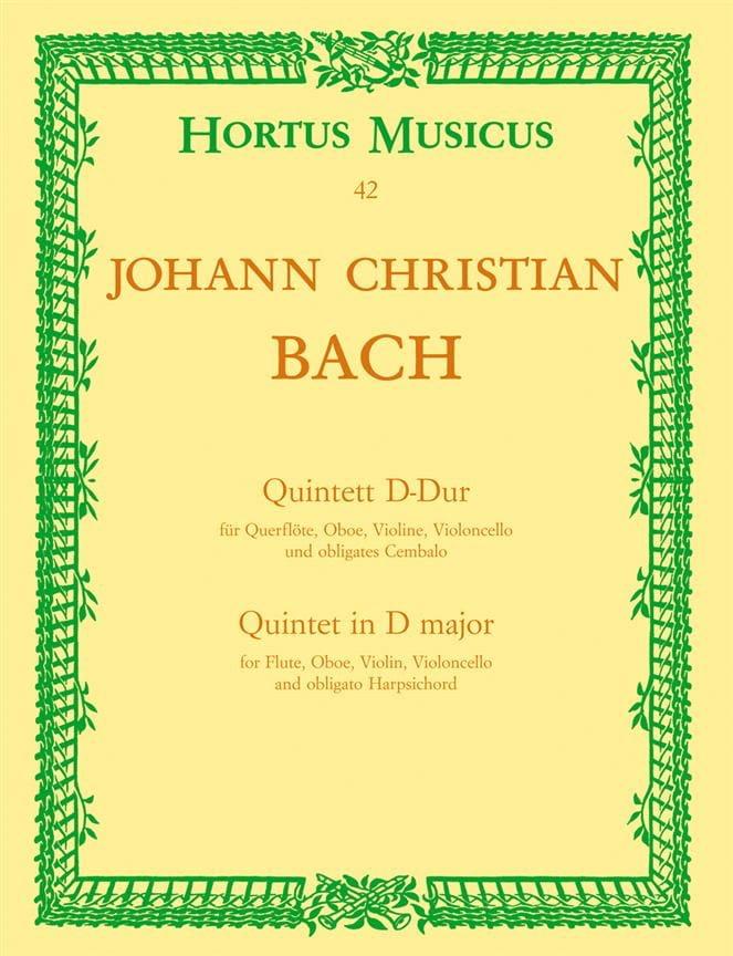 Johann Christian Bach - Quintett D-Dur - Flute Oboe Violine Violoncello Cembalo - Partition - di-arezzo.co.uk
