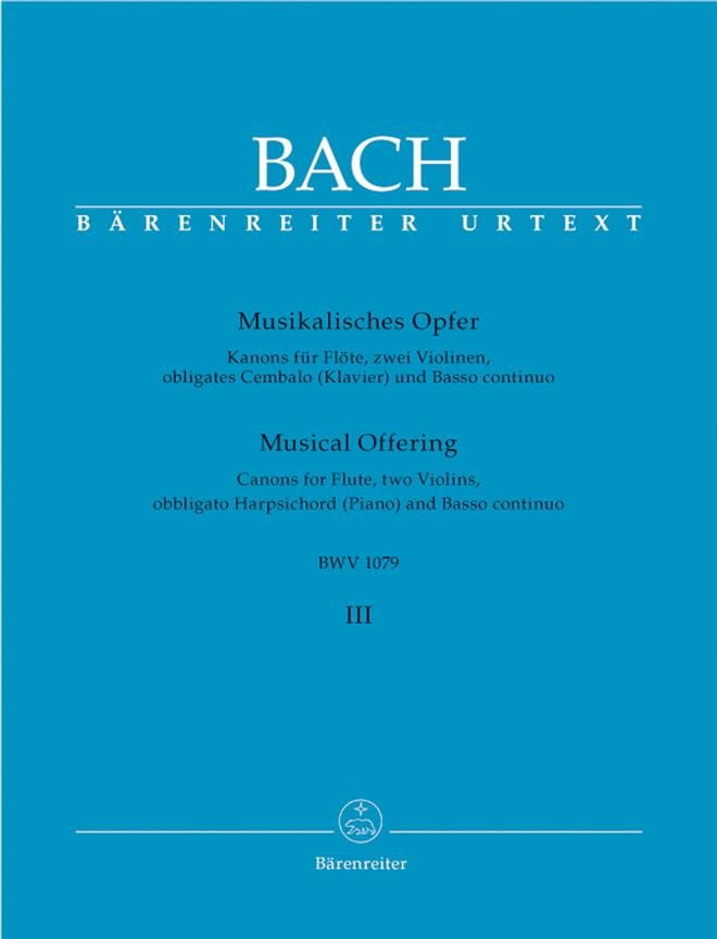 BACH - Musikalisches Opfer Bd. 3: Kanons - Flöte, 2 Violinen, obl. Cembalo u. Bc - Partition - di-arezzo.com
