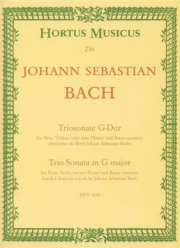 BACH - Triosonate G-Dur BWV 1038 - Violine fl o. 2 Flöten u. Bc - Partition - di-arezzo.com