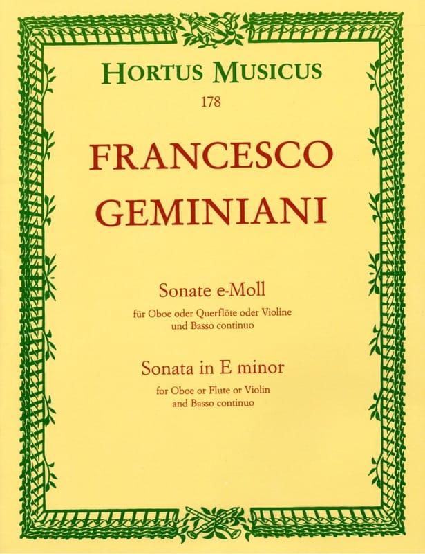 Francesco Geminiani - Sonata In E Minor - Partition - di-arezzo.com