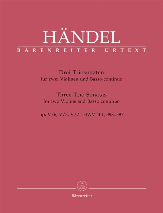 HAENDEL - 3 Triosonaten op. 5 n ° 6, 3, 2 HWV 401, 398, 397 - Stimmen - Partition - di-arezzo.com