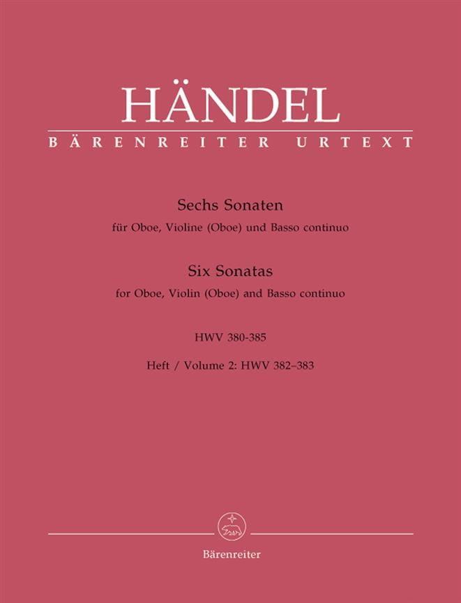 HAENDEL - 6 Sonaten HWV 380-385 - Heft 2: 382-383 - Oboe Violine Oboe u. Bc - Partition - di-arezzo.co.uk