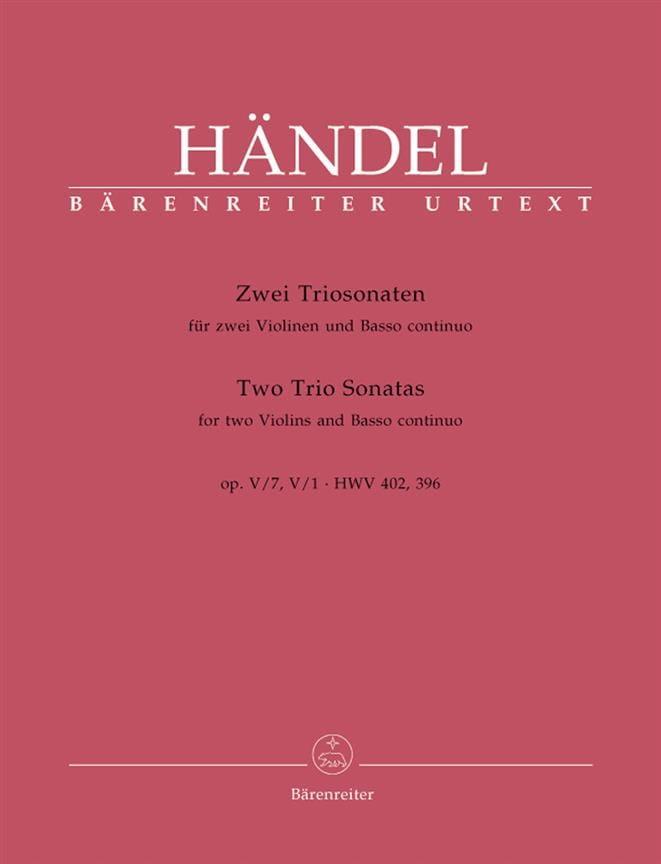 HAENDEL - 2 Triosonaten op. 5 n ° 1 und 7 HWV 402, 396 - Stimmen - Partition - di-arezzo.co.uk
