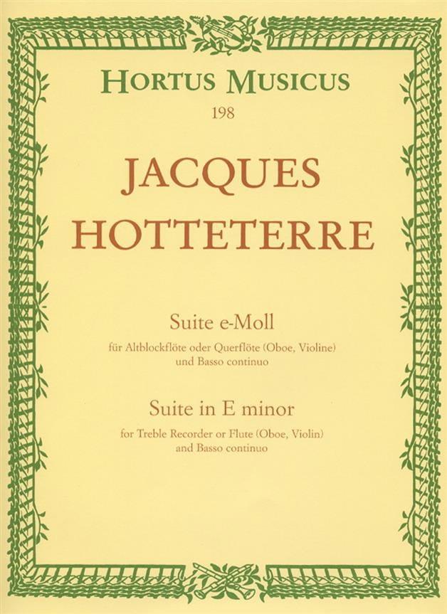 Jacques (Le romain) Hotteterre - E-Moll Suite - Altblockflöte O. Querflöte U. Bc Op 5 N ° 2 - Partition - di-arezzo.co.uk