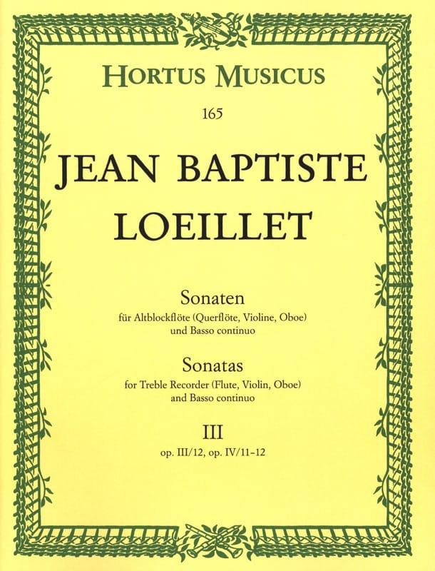 de Gant Jean Baptiste Loeillet - Sonaten - Heft 3 - Altblockflöte o. Flöte, VIoline, Oboe u. Bc - Partition - di-arezzo.com