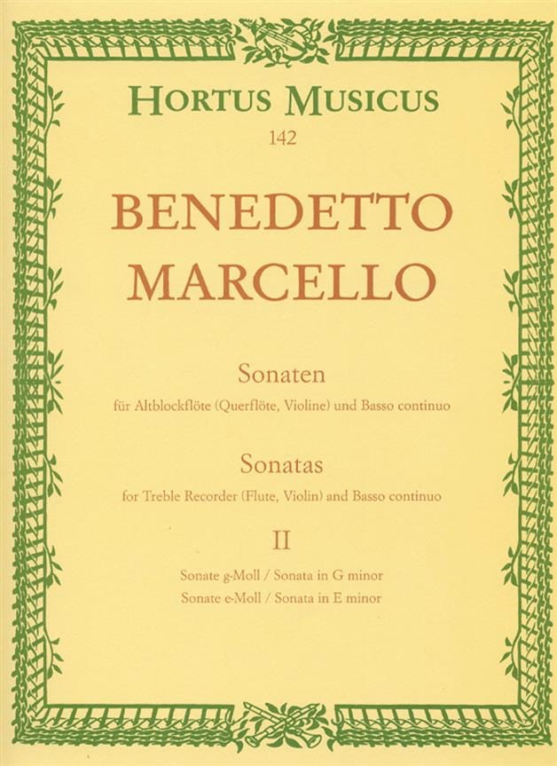 Benedetto Marcello - Sonaten op. 2 - Bd. 2 Nr. 3-4 - Altblockflöte u. Bc - Partition - di-arezzo.co.uk