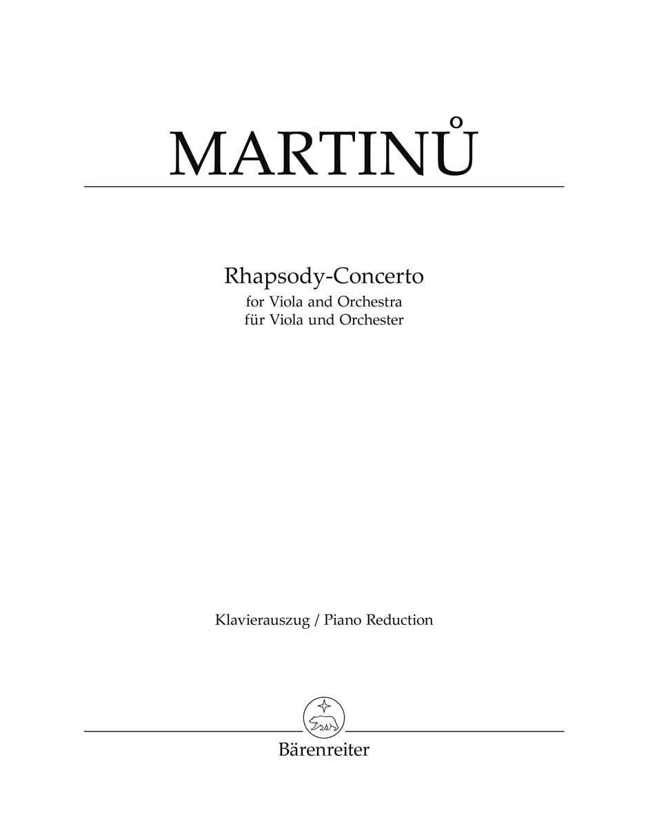 Bohuslav Martinu - Rapsodia-Concierto - Viola Klavier - Partition - di-arezzo.es