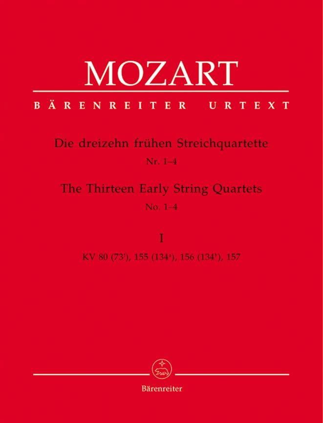 MOZART - the first 13 string quartets, notebook 1 KV 80,155,156,157 - instrumental parts - Partition - di-arezzo.co.uk