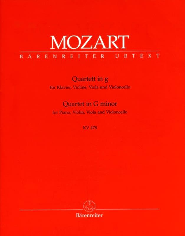 MOZART - Quartet in G minor KV 478 - instrumental parts - Partition - di-arezzo.co.uk