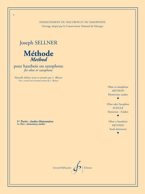 Joseph Sellner - Oboe or saxo method - Volume 1 - Partition - di-arezzo.com