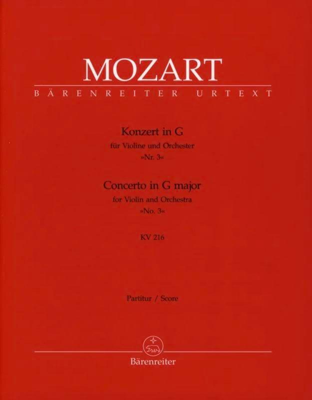 Concerto pour violon en Sol Majeur KV 216 - Partitur - laflutedepan.com