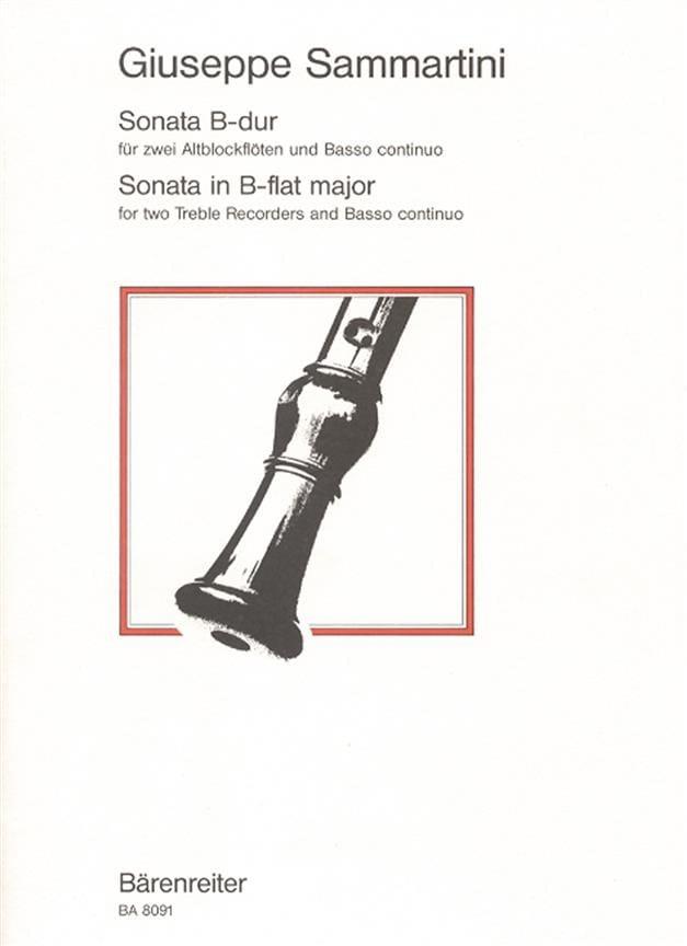 SAMMARTINI - Sonate B-Dur - 2 Altblockflöten BC - Partition - di-arezzo.com