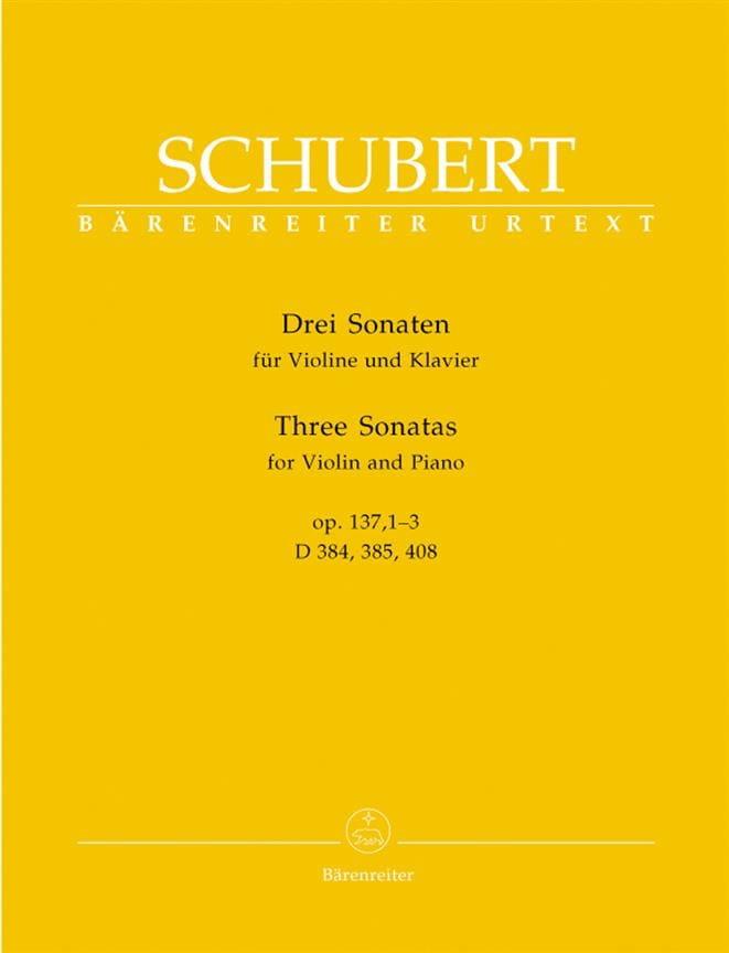 3 Sonates op. 137 - SCHUBERT - Partition - Violon - laflutedepan.com