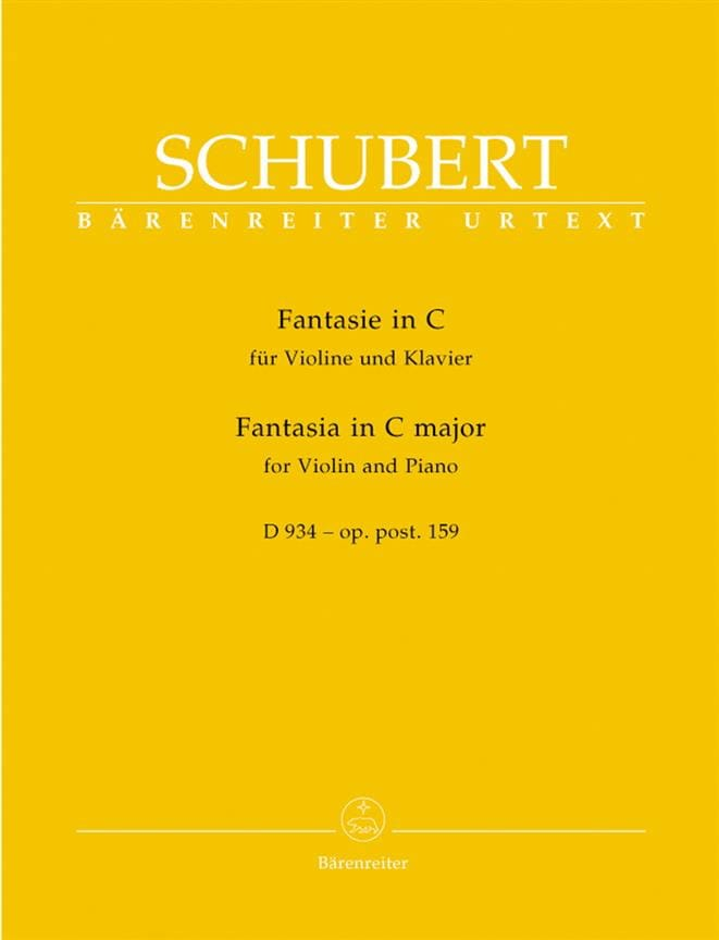 SCHUBERT - Fantasy in C Major, D 934 op. posth. 159 - Partition - di-arezzo.co.uk
