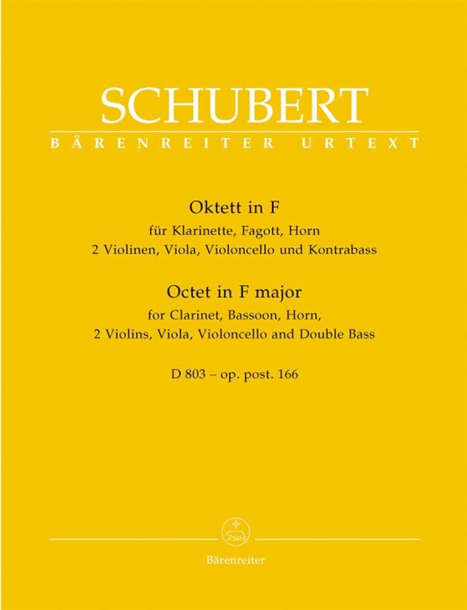 SCHUBERT - Octeto en Fa Mayor D. 803 Op. Posth 166 - Partition - di-arezzo.es