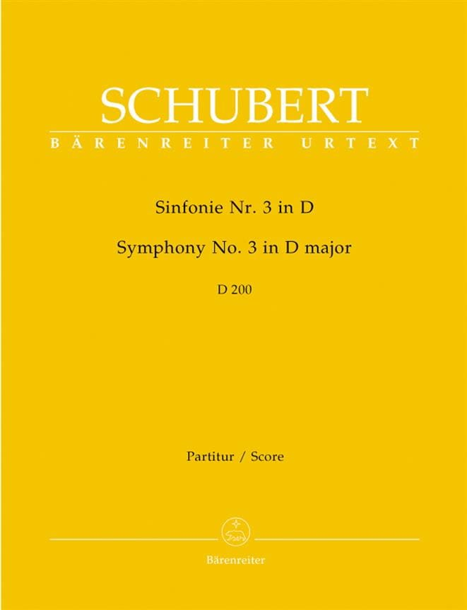 SCHUBERT - Sinfonía Nr. 3 D Major D. 200 - Partitur - Partition - di-arezzo.es