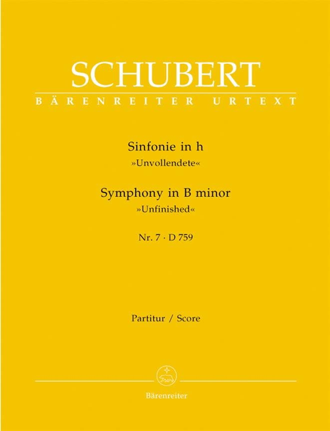 SCHUBERT - Symphony No. 7 h-moll D. 759 - Partitur - Partition - di-arezzo.co.uk