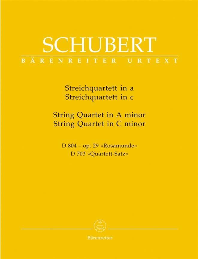 SCHUBERT - Streichquartette a-moll D 804 op. 29 / c-moll D 703 - Stimmen - Partition - di-arezzo.co.uk