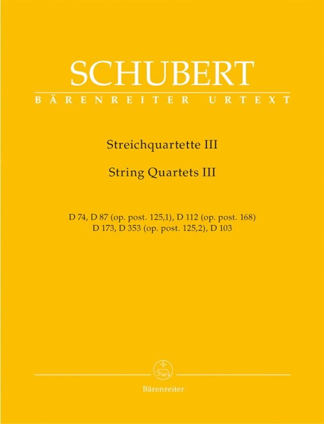 SCHUBERT - String Quartets - Volume 3 - Instrumental Pieces - Partition - di-arezzo.co.uk