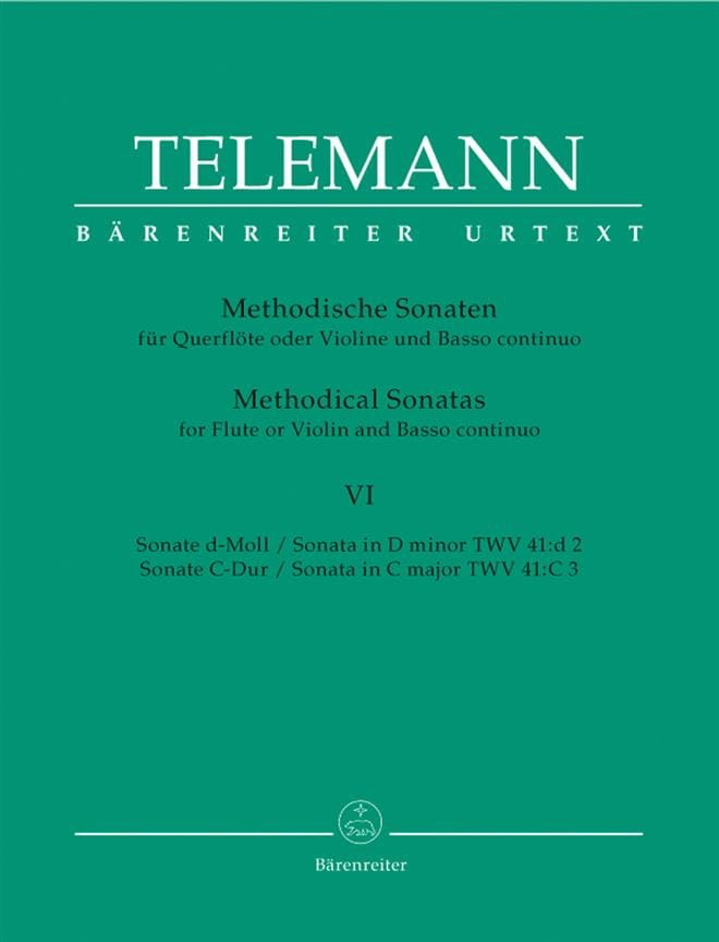 TELEMANN - 12 Methodische Sonaten - Bd. 6 - Flöte o. Violine u. Bc - Partition - di-arezzo.co.uk